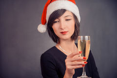 Young woman with beverage champagne Royalty Free Stock Photography