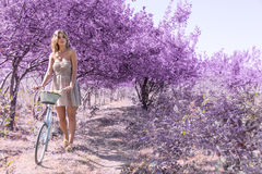 Young woman on bicycle in fantasy pink forest Royalty Free Stock Image
