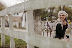 Young woman with a bicycle Royalty Free Stock Photos