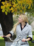 Young woman on bicylce Royalty Free Stock Photo