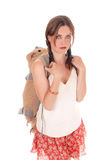 Young woman with big backpack. royalty free stock photo