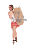 Young woman with big backpack. royalty free stock photography