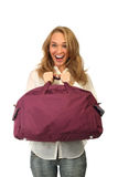 Young woman with big bag Royalty Free Stock Images