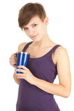 Young woman with big blue cup Stock Photos