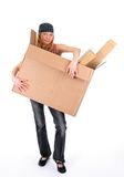 Young woman with a big cardboard box Royalty Free Stock Photo