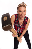 Young woman with a big hammer Stock Photography