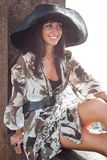 Young woman in big hat Royalty Free Stock Photo
