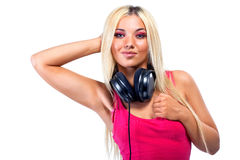 Young woman with big headphones Stock Photos