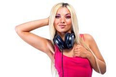 Young woman with big headphones Stock Photos