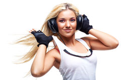 Young woman with big headphones Stock Photography
