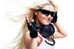 Young woman with big headphones Royalty Free Stock Photo