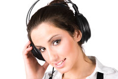 Young woman with big headphones Stock Photo