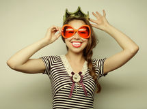 Young woman with big party glasses Royalty Free Stock Photo