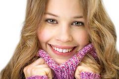 Young woman with big pullover Stock Images