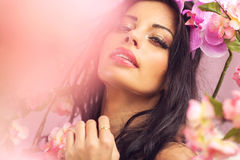 Young woman with the big shiny lips Stock Image
