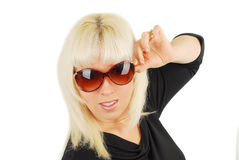 Young woman in big sunglasses Stock Photography
