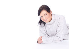 Young woman in bight sweater Stock Photography