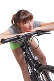 Young woman on bike Royalty Free Stock Image