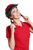 Young woman with a bike helmet Royalty Free Stock Images