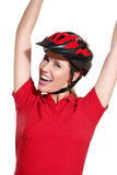 Young woman with a bike helmet Stock Image