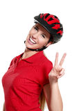 Young woman with a bike helmet Stock Images