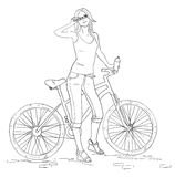 Young woman with bike line sketch. Pretty girl in jeans. Young woman with bike line sketch. Outline attractive lady cyclist and bicycle. Pretty girl in jeans Stock Photo