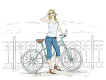 Young woman with bike sketch. Pretty girl in blue jeans. Young woman with bike line colored sketch. Attractive lady cyclist and mint bicycle. Pretty girl in blue Stock Images