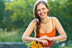 Young woman and bike Stock Photos