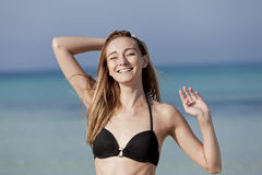 Young woman bikini beach, laughing Portrait Stock Images