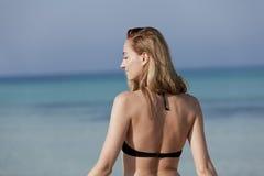 Young woman bikini beach, laughing Portrait Stock Photos