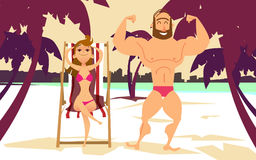 Young woman in bikini on the beach. Young man with muscles on the beach. Royalty Free Stock Photos