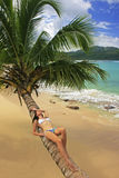 Young woman in bikini laying on leaning palm tree at Rincon beac Stock Image