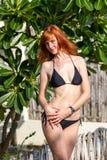 Young woman in bikini near tropical bush Stock Images