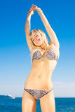 Young woman in bikini on seashore. Attractive young long-haired blond woman at the sea Royalty Free Stock Photo