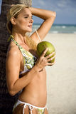 A young woman in a bikini standing on a beach stock images