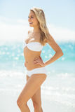 Young woman in bikini standing on beach Royalty Free Stock Images