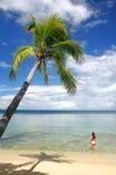 Young woman in bikini standing in clear water, Nananu-i-Ra islan Royalty Free Stock Photo