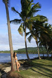 Young woman in bikini standing by palm tree, Las Galeras beach. Samana peninsula, Dominican Republic Royalty Free Stock Photography