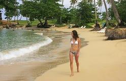 Young woman in bikini walking at Rincon beach, Samana peninsula. Dominican Republic royalty free stock photo