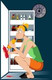 Night binge eating. Young woman binge eating a hot dog in front of an open fridge late at night, EPS 8 vector illustration stock illustration