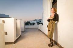 Young woman with binoculars Stock Photos