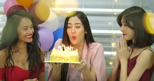 Young woman birthday girl is making wish, blowing candle on cake and clapping hands while her friends are congratulating stock video footage