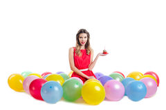 Young woman  on birthday party Royalty Free Stock Photography