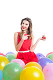 Young woman on birthday party Stock Photo