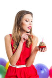 Young woman on birthday party Royalty Free Stock Images