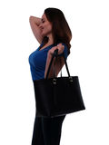 Young woman  with black bag Stock Image
