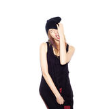 Young woman in black beanie Stock Photo