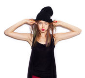 Young woman in black beanie having fun Royalty Free Stock Photography