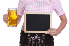 Young woman with black board and leather trousers Royalty Free Stock Photos