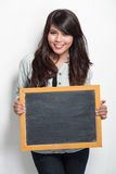Young woman with black board Royalty Free Stock Photo